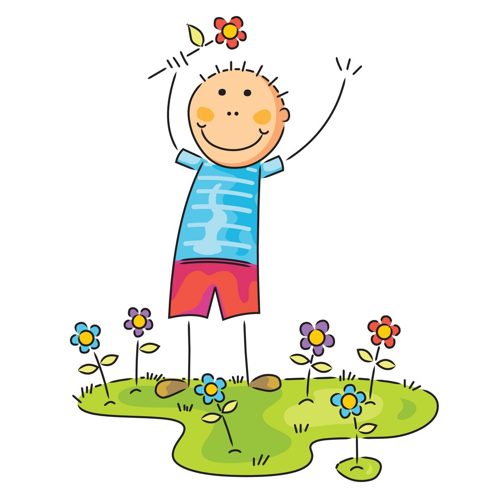 boy with flower on his hand vector 21358663