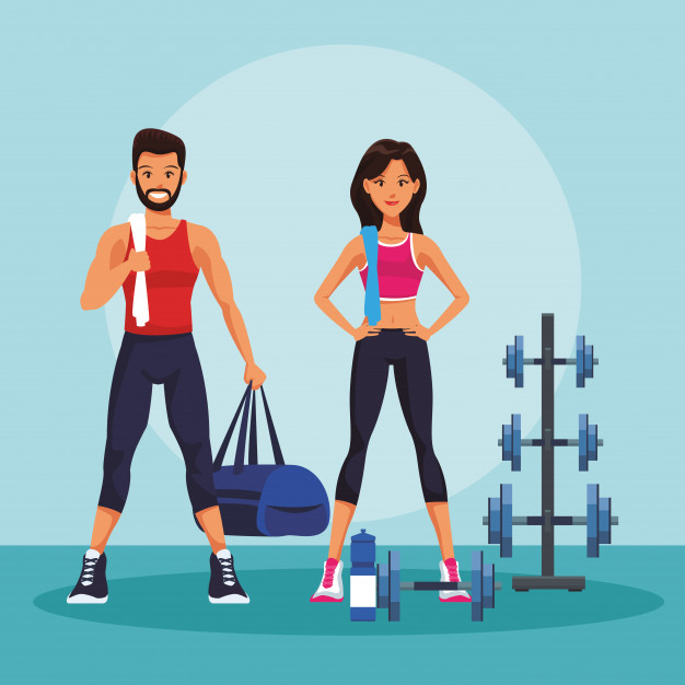 fitness man woman gym vector illustration graphic design 18591 25078